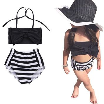 Bowknot Stripe Cotton Summer Toddler Bathing Suits