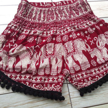 High waisted Pom pom Shorts Elephants Boho Print Summer Beach Chic Fashion Tribal Aztec Ethnic Clothing Bohemian Ikat Cloth pompom in Red