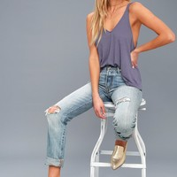 Dani Periwinkle Blue Ribbed Tank Top