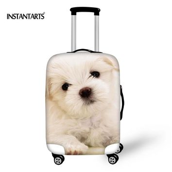INSTANTARTS Cute Puppy Dog Luggage Protective Covers for 18-30 Inch Cases Travel Accessories Elastic Waterproof Dust Rain Cover
