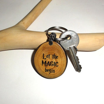 Personalized KeyChain Harry Potter Keyring. Natural Key Ring Let The Magic Begin Key Chain. Keychains Wooden Keychain. Custom name keychain.
