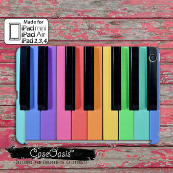 Rainbow Piano Keys Colorful Cute Tumblr Inspired Music Custom iPad Mini, iPad 2/3/4 and iPad Air Case Cover