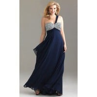 A-line One-Shoulder Floor-Length Chiffon and Beading Prom Dress SAL0938 - Cocktail Dresses - Occasion Dresses