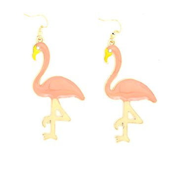 Flamingo Crystal Dangle Earrings Vintage Gold Tone Pink Tropical Miami Florida Bird EH15 Fashion Jewelry
