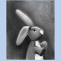 Charcoal Bunny- Blue Border | Canvas Wall Art
