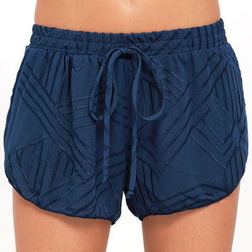 Dancing in the Flowers Navy Blue Embroidered Shorts