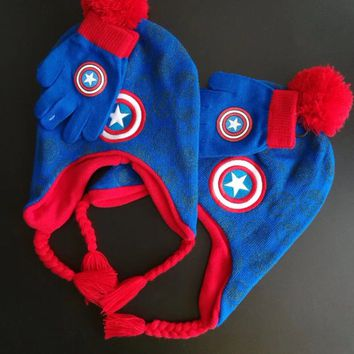 Hats,gloves 2pcs/set anime Captain America  style children's hat, winter knitted wool warm hat for 3-10 years boys