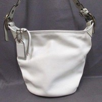 Auth COACH Bleecker Leather Duffel 11422 White Leather Shoulder Bag