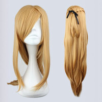 90cm Long Blonde Synthetic Anime Cosplay Sword Art Online -Asuna Yuuki Wig,Colorful Candy Colored synthetic Hair Extension Hair piece 1pcs WIG-217D