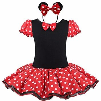 2017 Kids Christmas minnie mouse Baby Gift Party Fancy Costume Cosplay Girls Ballet Tutu Dress+Ear Headband 12M-6Y