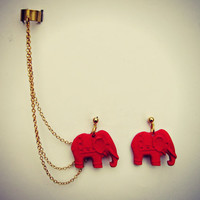 ear cuff with red elephant earrings, chains ear cuff, ear cuff earrings, ear cuff with chains
