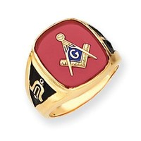 Men's Created Ruby Masonic Ring