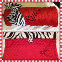 NEW iTEM ZEBRA BLANKET Baby Girl Boutique Style Minky Red Baby Shower Gift Christmas Monogrammed Fleece Lovey Personalized
