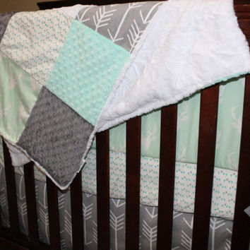 Baby Crib Bedding - Mint Buck, Mint Gray Triangles, Gray Arrows, Mint Minky, and White Crushed Minky Crib Bedding Ensemble