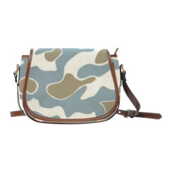 Women Shoulder Bag Tan And Gray Camouflage Saddle Bag Large