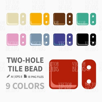 Two-Hole Tile Bead Clip Art. Bead Vector Graphic, Vector illustration of beads, Bead download for commercial use