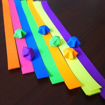 Rainbow Flourescent Gorgeous colors Origami Lucky Star Paper Strips - pack of 70 strips