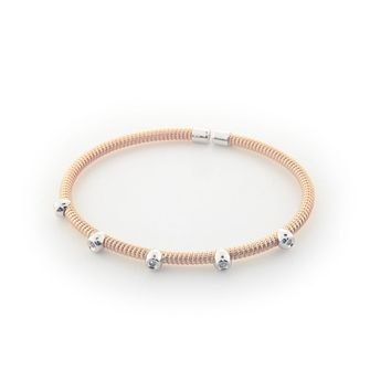 Five Diamond Station Bangle in Twisted Rose Gold Plated Sterling Silver, .07 Carats