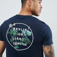 ASOS DESIGN t-shirt with city Floral circle print in navy at asos.com