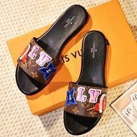 LV autumn and winter new women's fashion color applique flat slippers