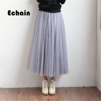 Mesh Tulle Skirts Women Summer Elastic High Waist Ladies Long Mesh Skirt Womens Tutu Maxi Pleated Skirt Midi Faldas Saias
