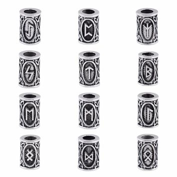 24 style full set Viking Runes beads charms for Beards or Hair TIWAZ TYR Sol rune Odal Futhark Rune necklace 1pcs of each design