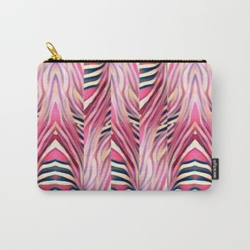 zebra pink Carry-All Pouch by violajohnsonriley