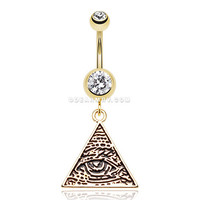 Golden Eye of Providence Belly Button Ring (Clear)