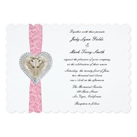 Unicorn Pink Lace Wedding Invitation
