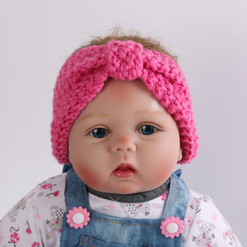 1 X Newborn Baby Kid Toddler Infant Handmade Bowknot Style Turban Cross Crochet Knitted Headband Hairband Hair Band Accessories