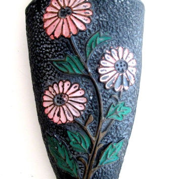 Mid Century Pottery Wall Pocket Japan Black Pink Green Flowers