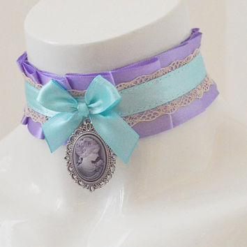 Sweet lolita collar - Antique goddess - ddlg little princess cgl choker kitten play  - kawaii cute fairy kei violet lilac and blue