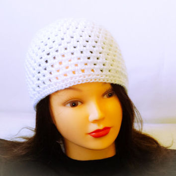 Spring crochet hat, White summer hat, Lace crocheted, Women beanie, Custom hat, Spring girl cap, Shabby chic hat, summer wear, All season
