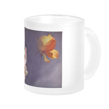 Angel and yellow rose on a frosted glass 10oz mug.