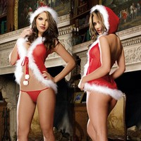 Charm Christmas Underwear Women's Sexy Lingerie Red Babydoll