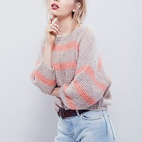 Free People Womens Softly Stripe Crew