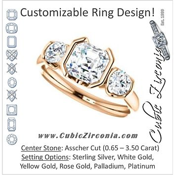 Cubic Zirconia Engagement Ring- The Lula (Customizable 3-stone Bezel Design with Asscher Cut Center and Round Cut Accents)