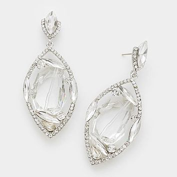 Unique Shaped Glass Crystal & Rhinestone Marquise Evening Earrings
