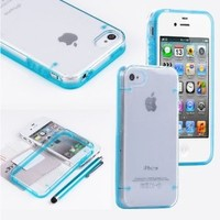 Viva Luminous Style Glowing Hard Bumper Skin Back Case Cover For iPhone 4 4G 4S With Screen Protector Cover + Stylus Pen MultiColor