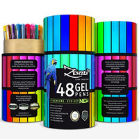 Gel Pens 48 Ink Colors Pen Set with Case - Perfect for Adult Coloring Books Sketching Drawing Painting Writing - FREE Extra Gift (), Best Large Color Selection Glitter Metallic Classic Neon Milky