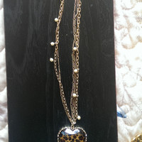 Betsey Johnson Cheetah Heart Chain Necklace