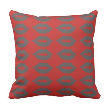 Funky Grey Lips Kisses Throw Pillow / Cushion