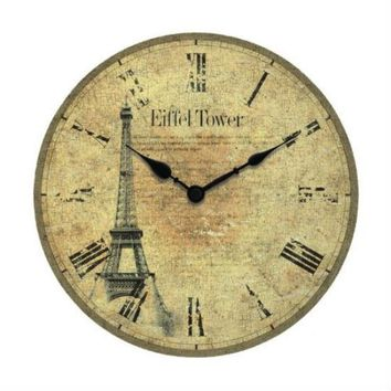 Worn Face Paris Wall Clock With Roman Numerals