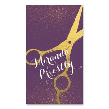 Hair Stylist Gold Scissors Purple and Gold Glitter Business Card