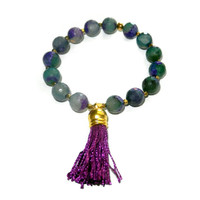Purple and Aqua Beaded Bracelet with Purple and Gold Tassel