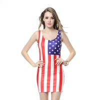 American flag dress specially designed for patriotic girls....