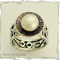Silver engagement ring with filigree band and large by silvercrush