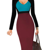 Fashion Deep V Neck Long Sleeve Stitching Color Midi Work Pencil Bodycon Dress