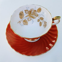 Aynsley Tea Cup and Saucer - Orange Spiral Twisted Ribbed Gold Trim Leaves Bone China England Numbered 2155