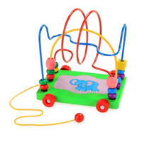 Baby Toddler First Bead Maze Toy Circles Bead Colorful Smooth Trailer Wooden Walker Developmental Educational Toy